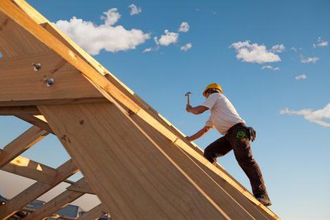 installation de plaques de bois sur un toit