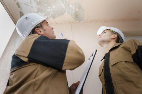 2 professionnels recherchant une fuite sur un plafond