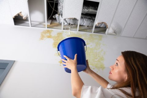 femme récupérant l'eau d'une fuite, solution des sondes neutroniques